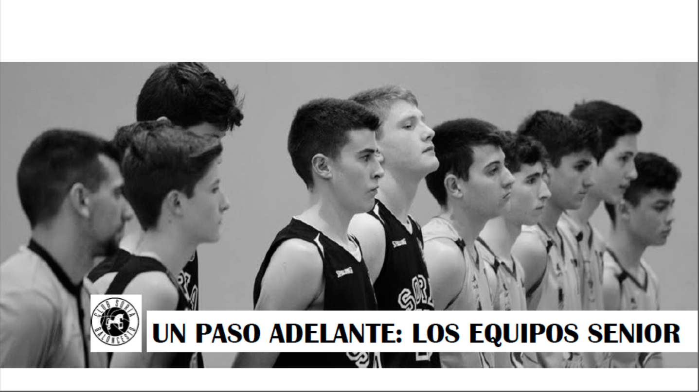 Página interior dossier Un paso adelante: los equipos senior – jugadores junto con árbitro en formación lineal al inicio de partido