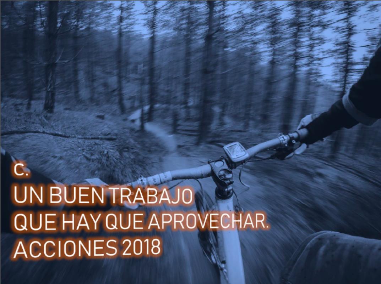 Buen trabajo realizado Acciones 2018 – Bicicleta de montaña en movimiento